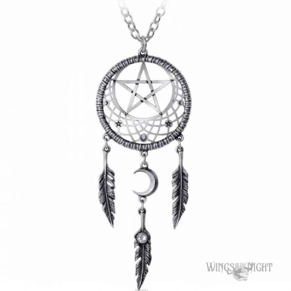 ALCHEMY GOTHIC  Pagan Dream Catcher Pentagram Necklace